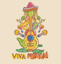 Mexico guitar lemon and masks vector
