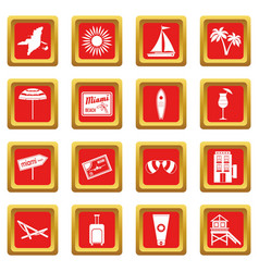 Miami icons set red vector