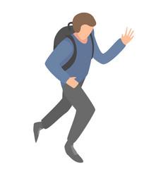 Migrant man running icon isometric style vector