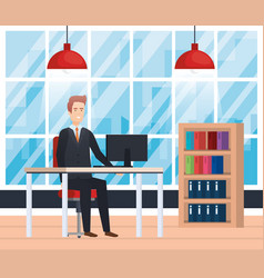 Modern office with businessman vector