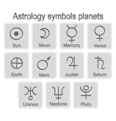 monochrome icon set with astrology symbols planets vector image