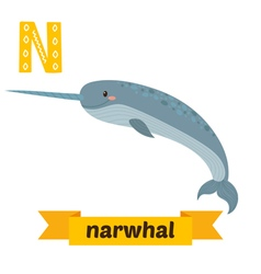Narwhal N letter Cute children animal alphabet in vector image