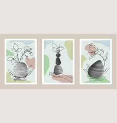 Natural abstract botanical art set with stones vector