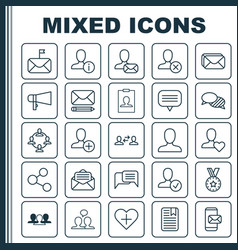 Network icons set collection bullhorn phone vector