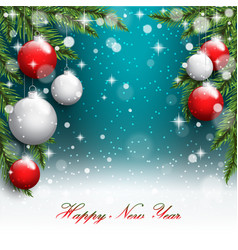 new year tree branches on the postcard background vector image