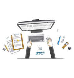 Office desk workspace top view with hands of vector