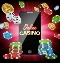 online casino banner with mobile phone vector image