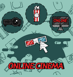 Online cinema flat concept icons vector