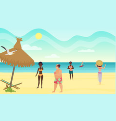 people on the beach cartoon vector image