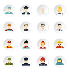 Professions icons set in flat style vector