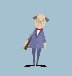 Professor in a suit with a folder vector