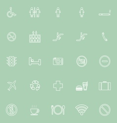 Public line icons on green background vector