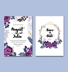 Purple white floral celebration wedding card vector