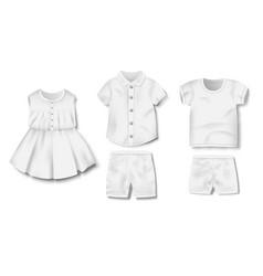 Realistic white blank baby bodysuit shirt pants vector