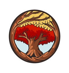 red tree vector image