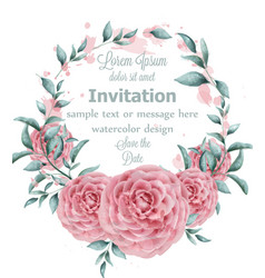 rose flowers watercolor round frame with green vector image