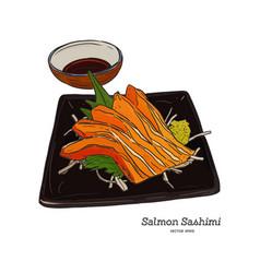 Salmon sashimi hand draw sketch vector