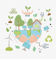 Save energy and ecology design vector