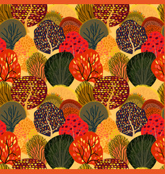 seamless background with stylized autumn trees vector image