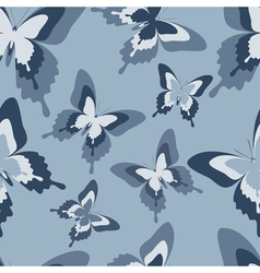 Seamless pattern with grey butterfly vector