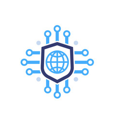 Secure network online security icon on white vector