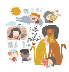 Set cute cartoon kids with wild animals vector