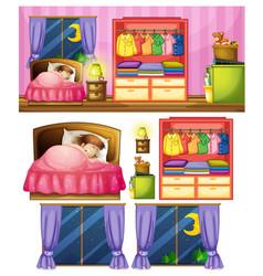 set girl in bedroom vector image