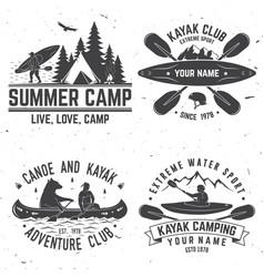 set kayak club badges vector image