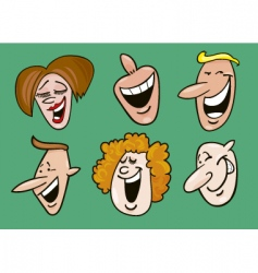 set of cheerful faces vector image