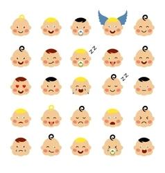 Set of cute baby emoticons vector