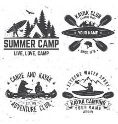 Set of kayak club badges vector