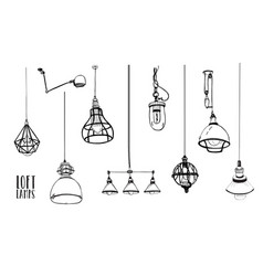 Set of modern isolated edison loft lamps vintage vector