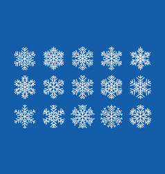 set of snowflakes winter christmas concept vector image