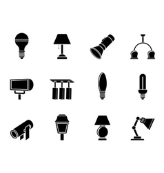 Silhouette different kind of lighting equipment vector image