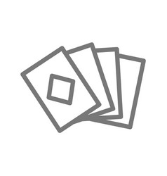 Simple playing and game cards line icon symbol vector