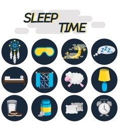 Sleep time flat icon set vector image