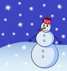 snowman with snowflakes on background vector image