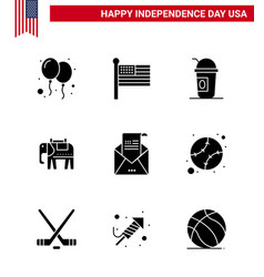 Solid glyph pack 9 usa independence day vector