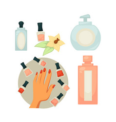 Spa salon equipment set for painting nails vector