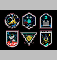 space set stickers patches prints icons vector image