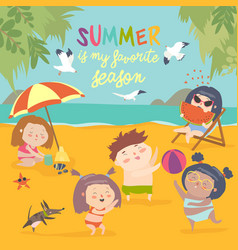 summer childs outdoor activities beach holiday vector image