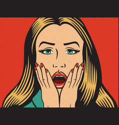 surprised or shocked woman in pop art style vector image