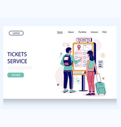 tickets service website landing page design vector image