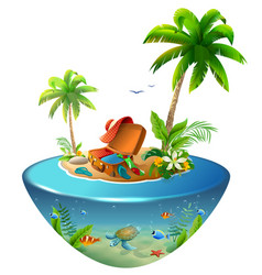 tropical island with palm trees in sea outdoor vector image