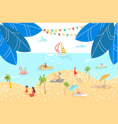 vacationers at sea beach rest people sunbathing vector image