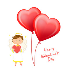 Valentines day greeting heart-shaped balloons vector