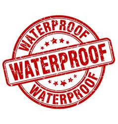 Waterproof red grunge stamp vector