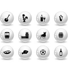 Web buttons portuguese icons vector