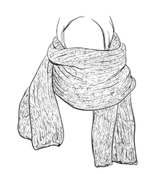 Woman silhouette in Winter Scarf Fashion vector