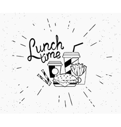 Lunch time vintage label of burger with coffee and vector image vector image